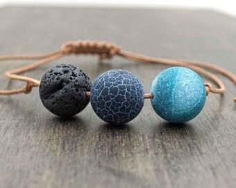 Agate Aromatherapy Bracelet Black Lava Stone and Blue Beaded Adjustable Essential Oil Diffuser Bracelet