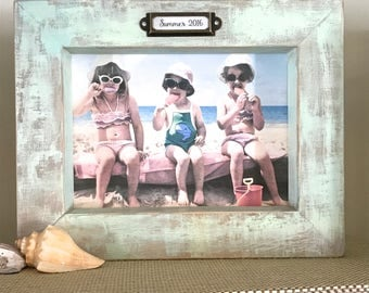 Photo Frame Pastel Blue Child Baby Personalize Gift Beach Decor Summer Sports Dog Cat Rustic Mint Blue Duck Egg Blue Wood