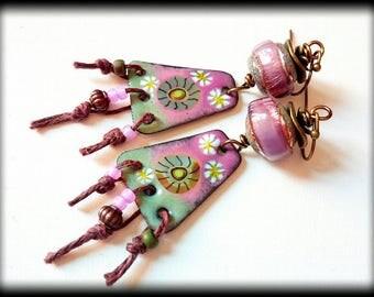 Artisan Earrings, Lilac Green, Flowers, OOAK