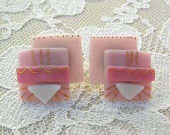 Sweet Pink Art Deco Glass Earrings, handcrafted, small geometric boutique earrings