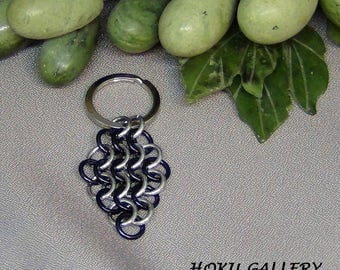"""Chainmaille Keychain, Black and Shiny Aluminum Rings - Silver Tone Flat Split Keychain Ring 2 3/4"""" - Hand Crafted Artisan Jewelry"""