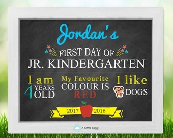 First day of school 8 x 10 Printable, first day of Jr. Kindergarten, First day of school sign, Chalkboard Sign