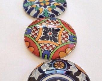 "Large Glass Fridge Magnets 1.25"" talavera designs set of 6 large glass cabochons)"