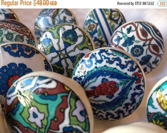 SUMMER SALE Wooden drawer knobs cabinet pulls; Turkish ceramic designs hand decorated (decoupaged)1 1/2 inches set of 8