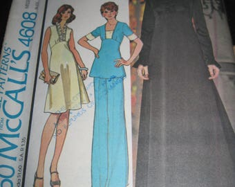 Vintage McCALL'S Pattern #4608.. sz.10..dress,top & pants ...1975....#48....