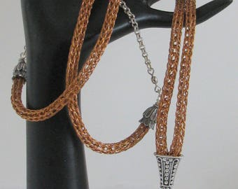 Break Away Lanyard - 2-Wire Copper Viking Knit with Silver Components (L-337)