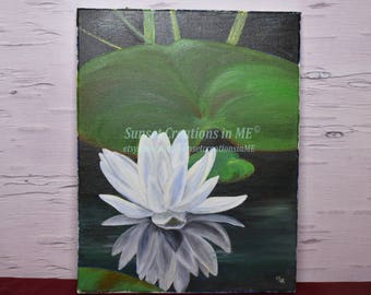 Water Lily, Lily Decor, Floral Decor, Zen, Lily Decor, Oil Painting, Oil Artwork, Floral Art, Painting, Home Decor, Lily Painting, Artwork