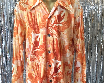 1970's Mens Novelty Print Collar Button Down / Large