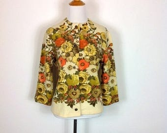 ON SALE Autumnal Bouquet Cardigan - 60s Vintage Floral Wool - Kio Imported by Hooper and Associates