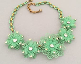 Summer Jewelry Flower Necklace - Rhinestone Necklace - Garden Party Jewelry Necklace - Flower Jewelry Necklace - Vintage Collar Necklace