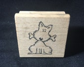 Cute Puppy with Bone Rubber Stamp Used