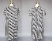 SALE vintage 60s black and white dress | mod 60s striped dress | volup, maternity, tie detail