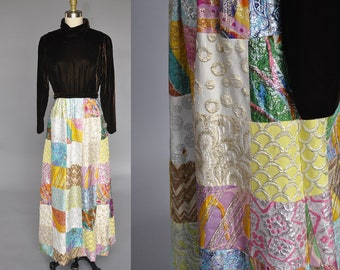 1970s patchwork maxi | vintage 70s velvet dress | 70s metallic quilted maxi