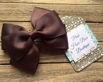 Brown hair bow , 4 inch hair bow , brown boutique hair bow , toddler hair bow , hair bows for girls