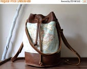 BIG SALE 40% Leather Duffle Bag, Weekender Bag, Leather Backpack, Bucket Bag, World Map, Leather Canvas Tote, Leather Bucket Bag, Convertibl