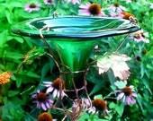 HUMMINGBIRD FEEDER, stained glass, copper, Deep Green