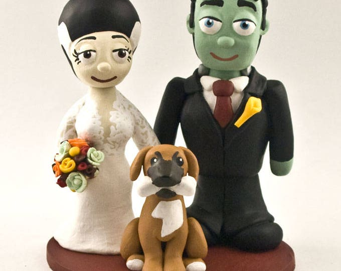 Frankenstein Bride and Groom Wedding Cake Topper
