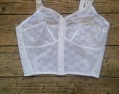 Ladies vintage lingerie bralette top bra tops 1960s underwear white dead stock bralet lace  boho bohemian hippie strapy Dolly Topsy Etsy UK