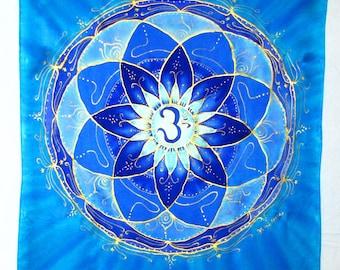 Throat Chakra wall hanging,blue mandala wall hanging, silk wall hanging, spiritual, meditation, chakra art, reiki, mandala art, metaphysical