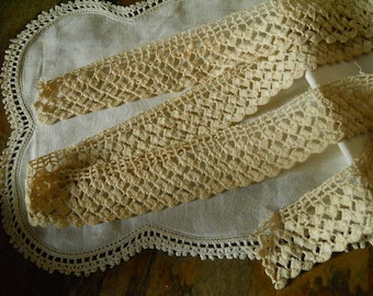Lace Edging Vintage Ecru Hand Crocheted Lace Sewing Supplies Handmade Lace