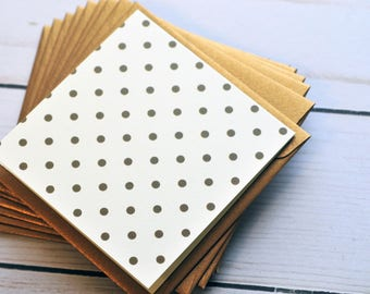 Gold Polka Dot Mini Cards // Set of 10 // Blank Cards // Love Notes // Advice Cards // Weding Favors // Shower Favors // Enclosure Card