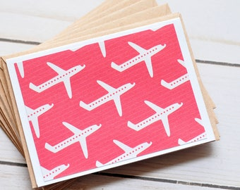 SALE-Airplane Mini Cards - Red // Set of 5 // Blank Cards // Gift Card Envelope // Travel Journal // Love Notes // Travel Theme