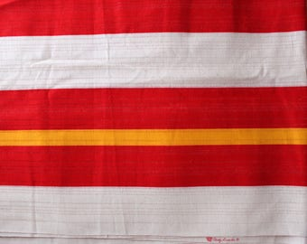 1960's Stanley Looms, Inc Woven Textile Fabric in Red Yellow and White Stripes . Upholstery Striped Fabric 60's 70s 1970s