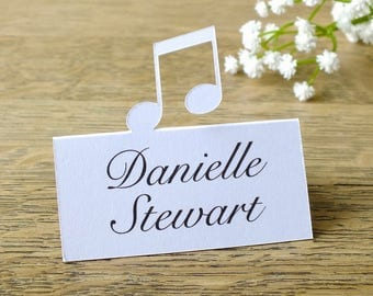 Music Note Place Cards - Personalised / Custom Musical Notes Place Cards - Customised Wedding - Treble Clef Escort Cards - Table Name Cards