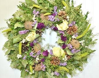 Dried Flower Wreath, Wall Decor, Natural Wreath, Dried Floral Wreath