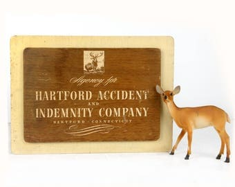 "advertising sign, Hartford, Connecticut, wood, 14"" x 10"" rustic, shabby chic, cabin decor, Hartford Accident and Indemnity, stag, 1930s"