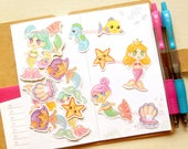 Mermaid Stickers. Kawaii Stickers. Resin Supply. Confetti. Anime Stickers. Princess Sticker. Planner Stickers. Craft Supply. Ocean Stickers.