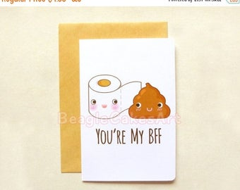 20% OFF Friendship Card. You're My BFF Card. Toilet Paper & Poop 4x6'' Notecard. Cute Note Card. Funny Greeting Card. Humor Greeting Card.