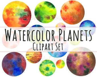 Planets Clipart, Space Clipart, Dots Clipart, Nature Clipart, Photoshop Overlay, Handpainted Clipart, Watercolor Clipart, Planet Printable