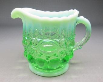 "Mosser glass green opalescent glass creamer "" Eyewinker "" pattern"