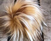 Butterscotch Faux Fur Pom Poms for Knit Crochet Hats Beanies Toques Purse Backpack Keychain Fob Blond Caramel Brown Tips