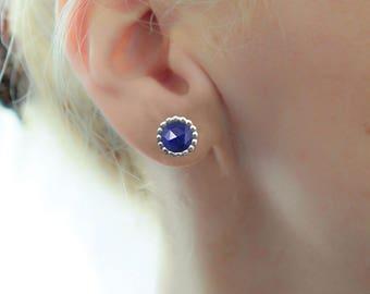 Sapphire Earrings, Birthday Gift Idea for Her, Birthstone Earrings, Handmade earrings, Blue Sapphire Stud earrings, Silver Stud Earrings
