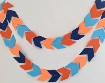 Arrow Head garland - Orange Chevron tribal banner - Woodland Party decor - Camping birthday garland - Baby Shower decor- your color choices