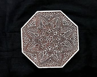Octagon motif pottery stamp/tjap/hand carved Indian block printing stamps/wooden block for printing/ paper and fabric printing stamp
