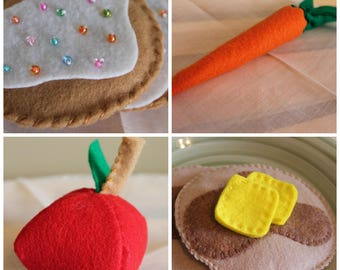 10 Item Bundle, Felt Food, Plush Food, Play Food, Felt Food Set, Toddler Toys, Pretend Play, Pretend Play Food