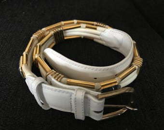 Jutta Reissig Hamburg white leather belt decorated with goldcolored details and facet cut stones