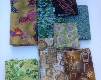 Fabric lot, OOP designs odd sizes tribal shamans, Laurel Burch Horses, peacock feathers, clocks, clouds