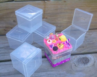 Clear plastic bank box for decoden supplies coin slot cube box