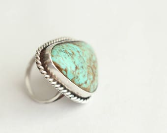 Sterling Silver and Kingman Turquoise ring . Size 6