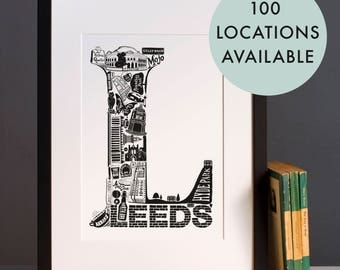 Best Of Leeds print - Graduation gift - University town - Typographic art - Leeds poster - Leeds artwork