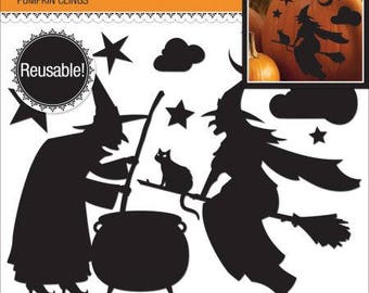 NEW! Jolee's Reusable Pumpkin Cling 11/Pkg-Witch Silhouette
