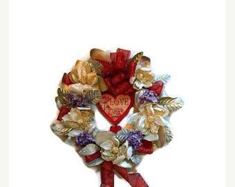 ON SALE 50% OFF Valentine's Day Heart Door Wreath Gilded Magnolia Hydrangea Wreath Romantic Home Decor Floral Arrangement Valentine Wreath C