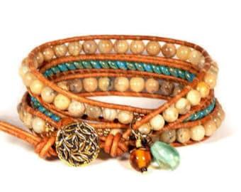 Leather Wrap Bracelet Turquoise Rope Triple Wrap Neutral Stone Bracelet Bohemian Bracelet Boho Jewelry