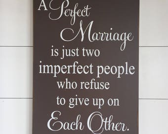 Large Wood Sign - Farmhouse Sign - A Perfect Marriage - Subway Sign - Home Decor - Wood Sign - Marriage Sign - Wedding Sign - Inspirational