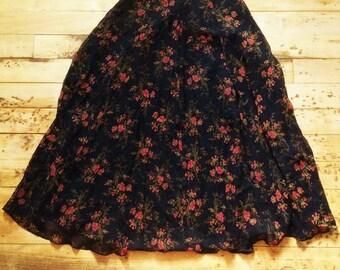 Laura Ashley Designer Vintage Woman Full Long Silk Skirt - Black & Lovely Floral Print - Fully Lined - New - S - W : 26