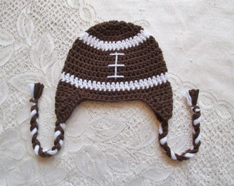 READY TO SHIP -3 to 5 Year Size - Crochet Football Hat - Winter Hat or Photo Prop